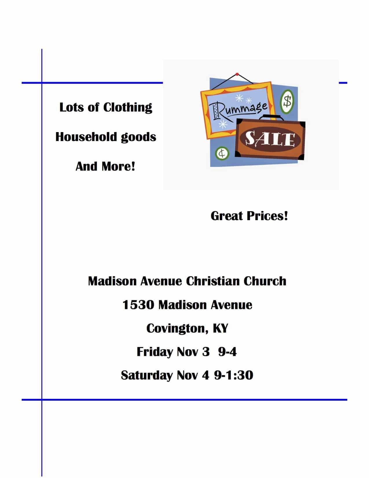 Rummage Sale November 3 & 4th - Madison Avenue Christian Church